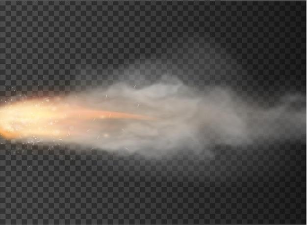 Fusée, traînée de balle fumée isolée sur fond transparent.