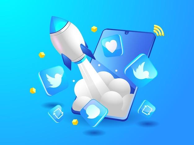 Fusée twitter stimulant les médias sociaux avec un smartphone