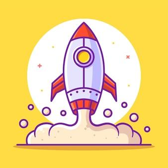 Fusée ou vaisseau spatial cartoon illustration isolé espace logo vector icon illustration dans un style plat