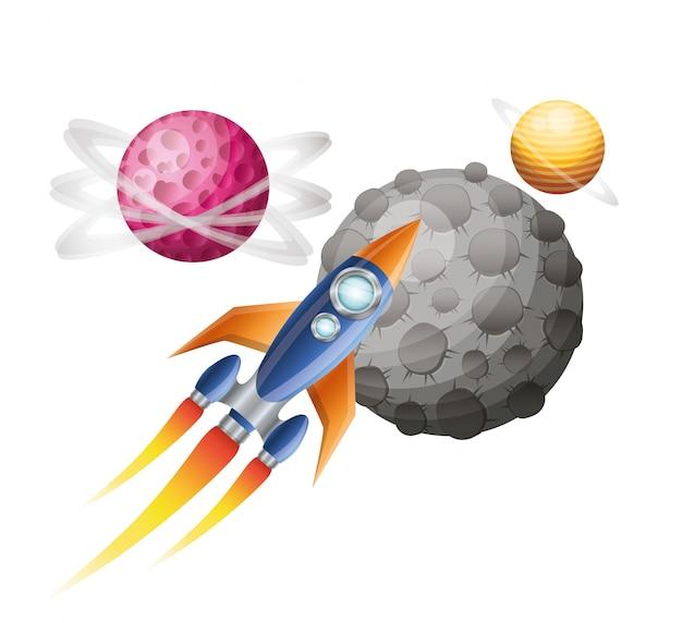 Fusée volant avec des planètes du système solaire isolé
