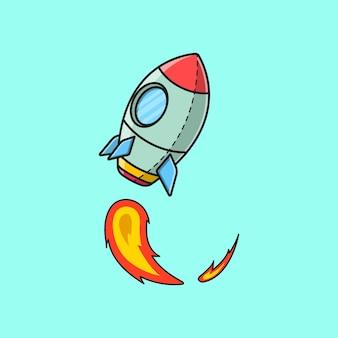 Fusée volant vers le haut de la bande dessinée