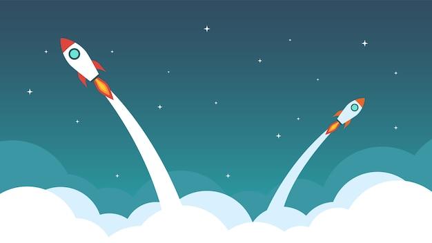 La fusée vole dans le ciel.