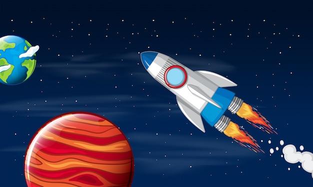 Une fusée voyage dans l'espace