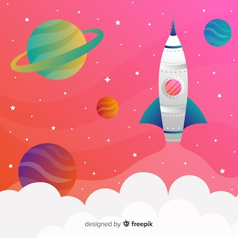 Fusée voyageant à travers le fond coloré dégradé de l'espace