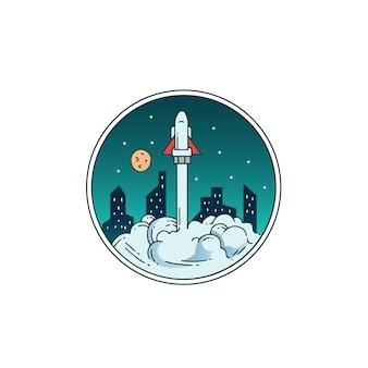 Fusées monoline avec vue sur la ville paysage