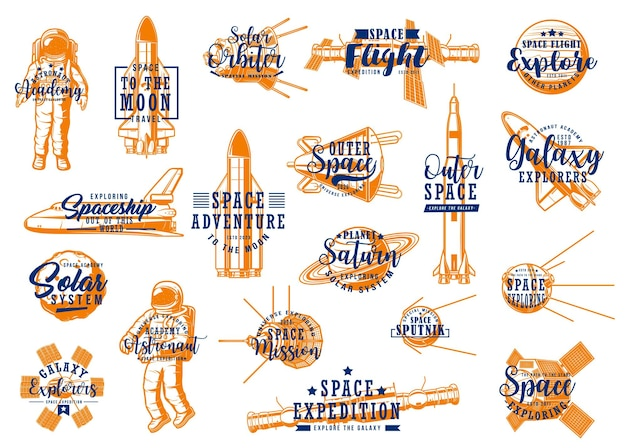 Fusées spatiales, icônes d'expédition de galaxie d'astronaute