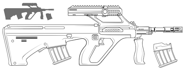 Fusil bullpup automatique moderne graphique