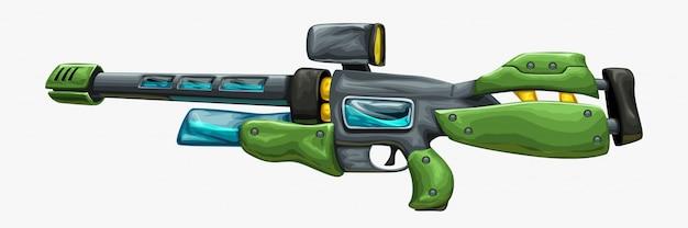 Fusil de sniper futuriste vert isolé sur blanc