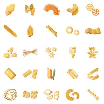 Fusilli pasta penne icons set