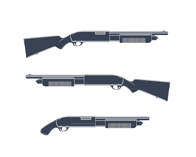 Fusils de chasse isolés sur blanc