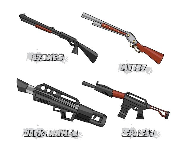 Fusils modèle illustration de conception de dessin animé