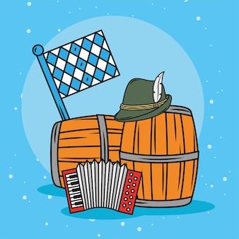 Fûts de bière et accordéon