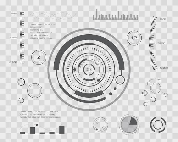 Futur abstrait, concept vecteur futuriste bleu tactile virtuel interface utilisateur hud. pour le web, le site, les applications mobiles. illustration vectorielle isolée sur damier transparent.