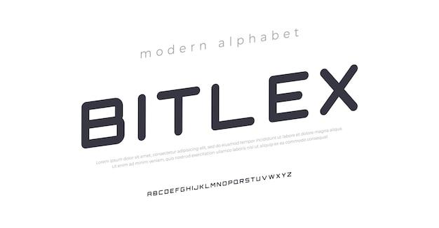 Futur style urbain de typographie de polices alphabet italique moderne