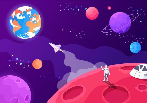 Futur voyage spatial vers d'autres planètes illustration colorée du tourisme spatial