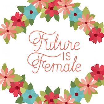Future est une étiquette féminine avec icône isolé cadre fleur