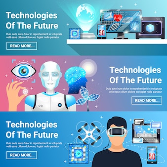 Future technologies banners set