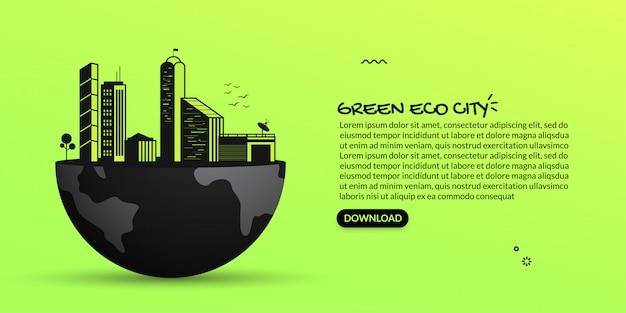 Future ville verte écologique sur terre, illustration du paysage urbain sombre sur fond vert