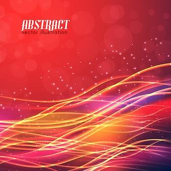 Futuriste brillant avec des effets de lumière de lignes ondulées brillantes sur fond flou