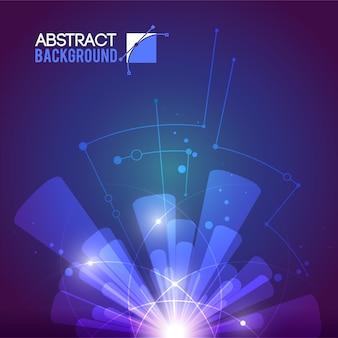 Futuriste avec des pistes de fil de circuit plat et des rayons concentriques transparents provenant d'une illustration de source de lumière floue