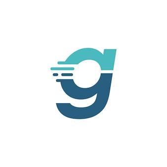 G lettre dash minuscule technologie numérique livraison rapide mouvement bleu logo vector icône illustration