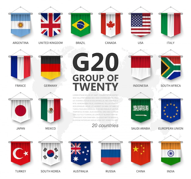 G20, groupe des vingt pays et drapeau des membres
