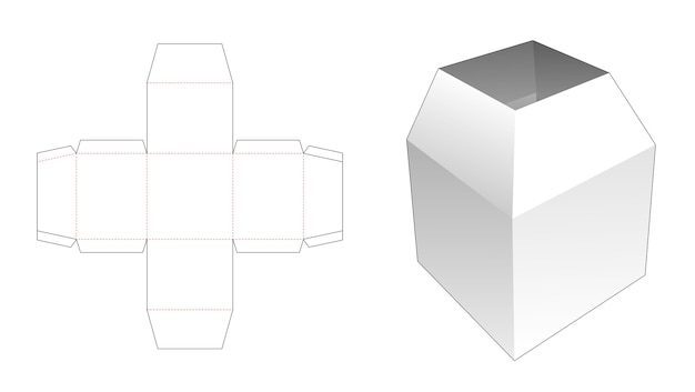 Gabarit de découpe de boîte de papeterie trapézoïdale supérieure