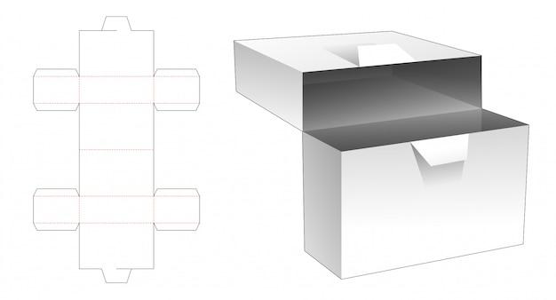 Gabarit de découpe de boîte rectangulaire à rabat