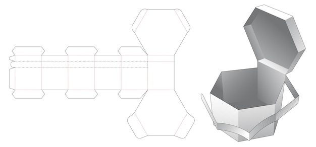 Gabarit découpé à l'emporte-pièce pour boîte hexagonale