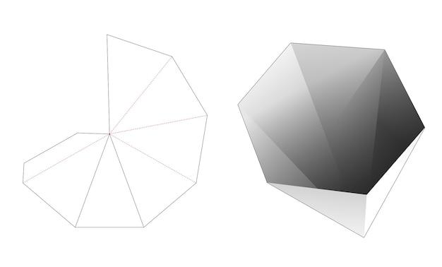 Gabarit découpé à l'emporte-pièce pour bol pylône de forme hexagonale