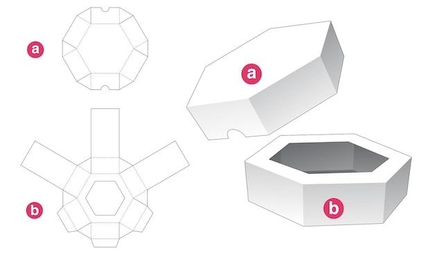Gabarit découpé à l'emporte-pièce pour plateau hexagonal et couvercle