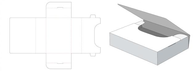 Gabarit de découpe pour boîte de rangement pliée