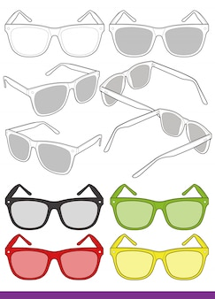 Gabarit de dessin technique plat pour lunettes de soleil