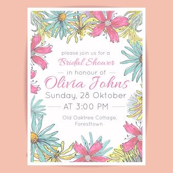 Gabarit de douche de mariée floral