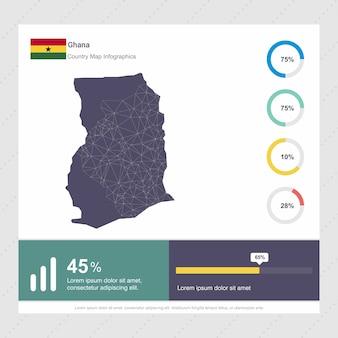 Gabarit d'infographie de carte et de drapeau du ghana