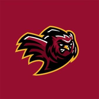Gabarit de logo de mascotte de jeu esport hibou