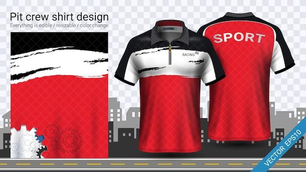 Gabarit de maquette de chemises d'équipe de fosse rouge