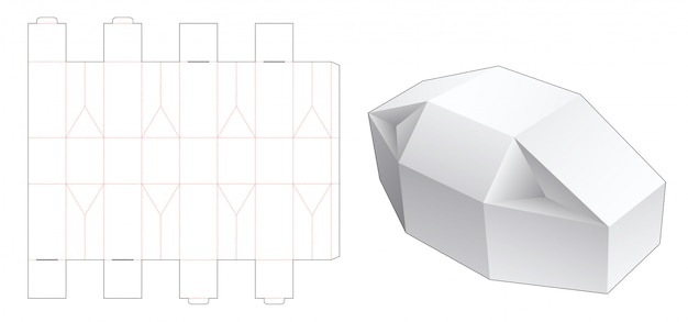 Gabarit unique découpé en forme de boîte-cadeau