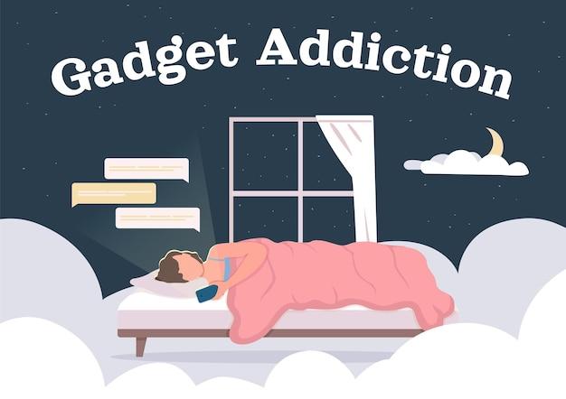 Gadget addiction plat. femme au lit surfant sur les réseaux sociaux.