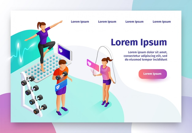 Gadget intelligent pour site web vectoriel isométrique de sport