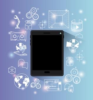 Gadget de technologie futuriste définie des icônes