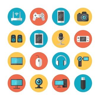Gadgets électroniques et icônes vectorielles plat de périphérique
