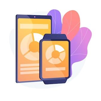 Gadgets intelligents, technologie portable. accessoires de style de vie à la mode, appareils pratiques, appareils électroniques portables. téléphone moderne et montre avec écran tactile.