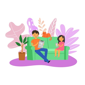 Gadgets de jeu familial, gens amusants, heureux à proximité, jeune père jouant ensemble, illustration. loisirs mobiles, concept technologique moderne, papa mignon adulte se détendre à la maison