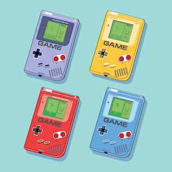 Gadgets de jeu vidéo geek rétro en différentes couleurs