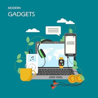 Gadgets modernes vector illustration design style plat