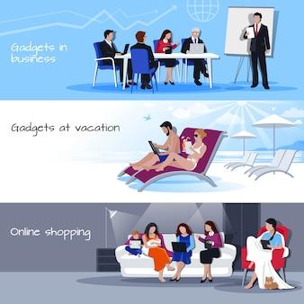 Gadgets en vacances d'affaires shopping bannières