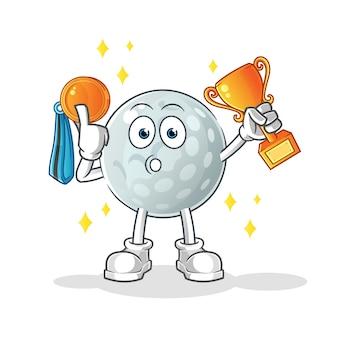 Gagnant d'une balle de golf avec trophée et médaille. personnage de dessin animé