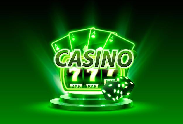 Gagnant de la bannière des machines à sous 777 du casino, podium de la scène. illustration vectorielle