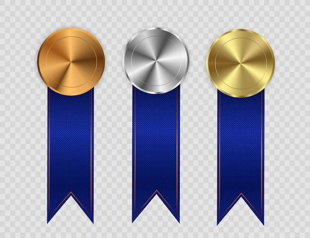 Gagnant du concours, médaille et bannière pour le texte. champion médaille avec ruban rouge. remise des médailles isolés sur fond transparent. illustration du concept gagnant.